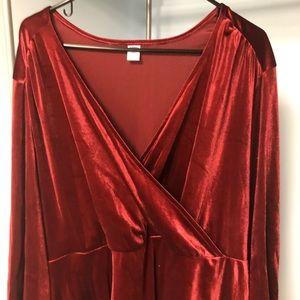 Maroon Velvet 3/4th Sleeve Wrap Dress